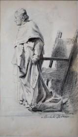 Figura di prelato, 1884 Matita grassa su carta (mm. 150 x 240)