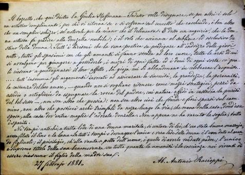 Testo riportato sul retro dell'opera Dolcezze materne di Giulia Hoffmann Tedesco